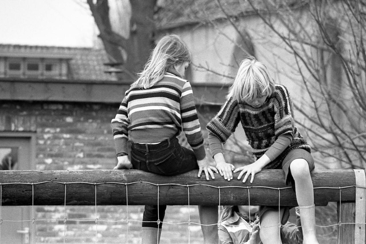 Voorjaar 1977: kinderen van Groothoff, Wolthoorn, Groeneveld, en Meerstra op het oude speelveldje (no. 9).