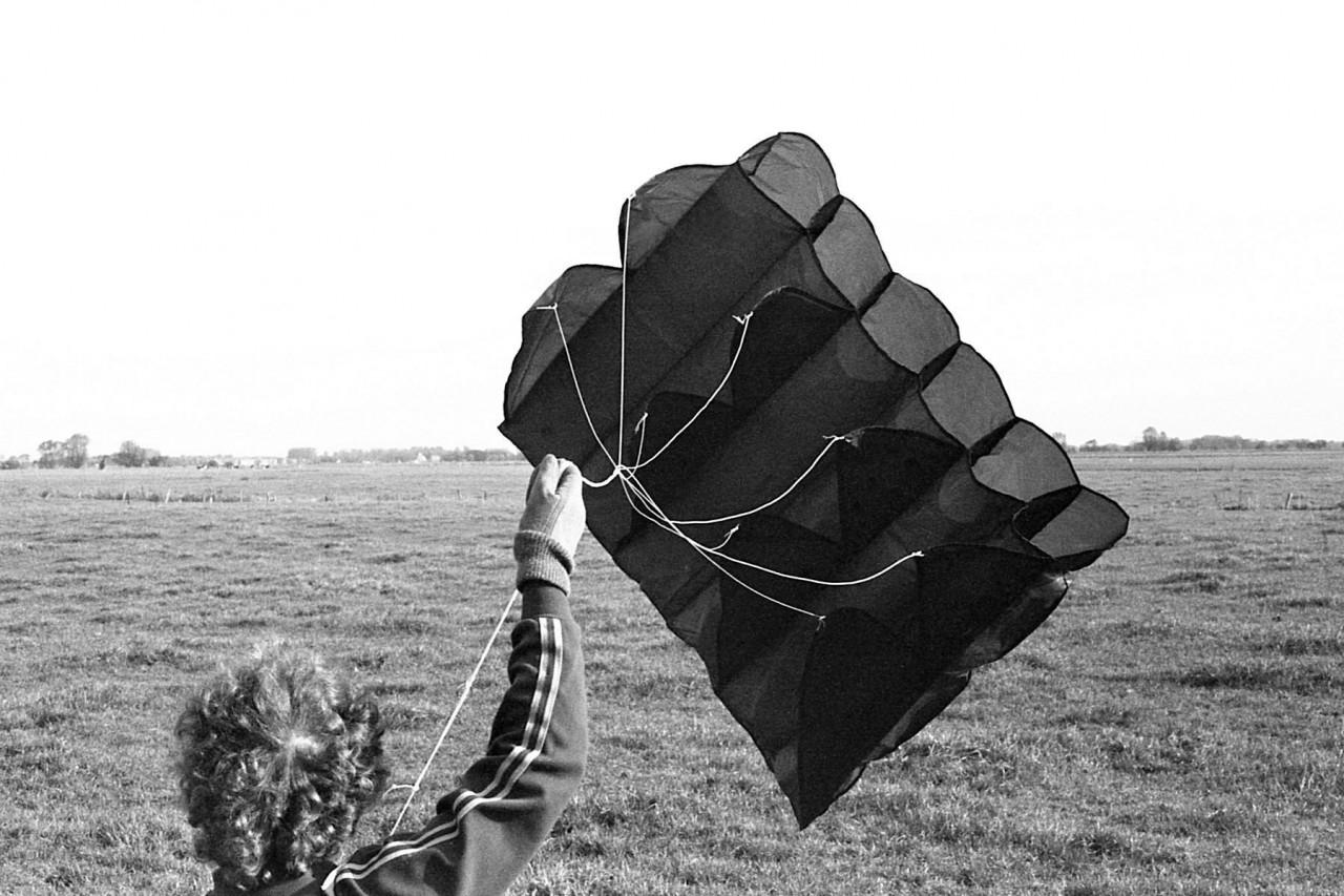 Jennifer met haar parafoil-vlieger